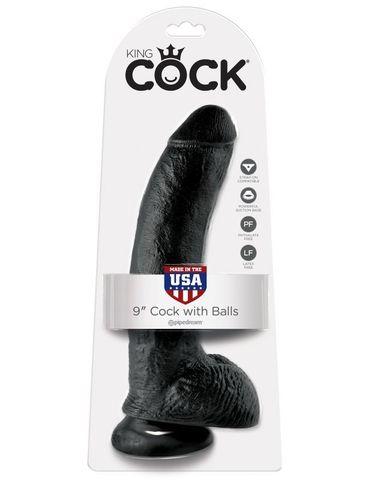 Фаллоимитатор на присоске черный King Cock 9 Cock with Balls фото