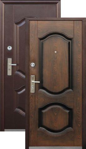 Дверь входная Кайзер К 550-2, 2 замка, 0,8 мм  металл, (медь антик+тёмный орех)