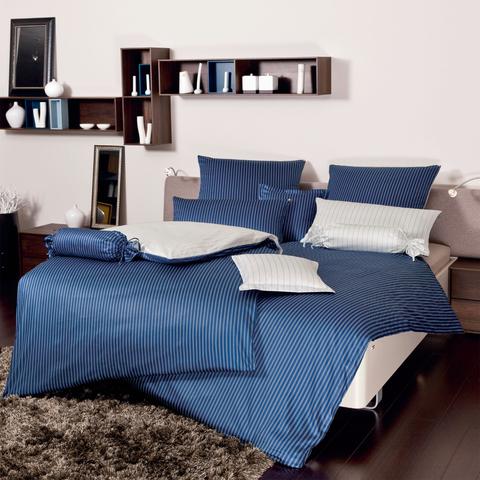 Постельное белье 2 спальное евро Janine Modern Classic темно-синее