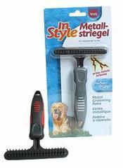 Trixie Расческа-грабли для короткой шерсти с крутящимся коротким зубом, пластиковая ручка 10х16 см