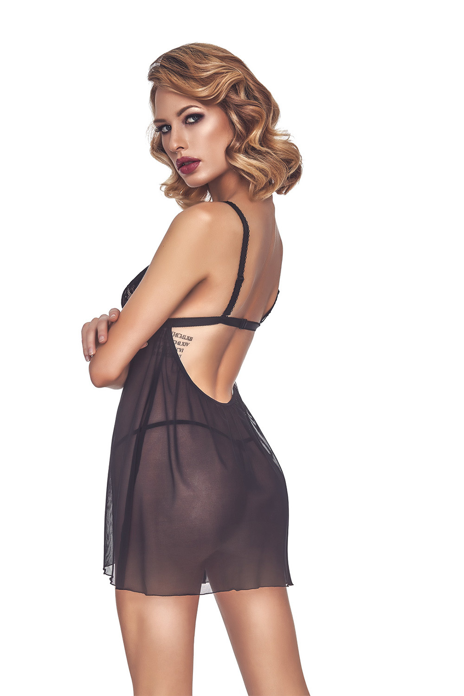 Прозрачная сорочка бэби-долл черная с кружевом