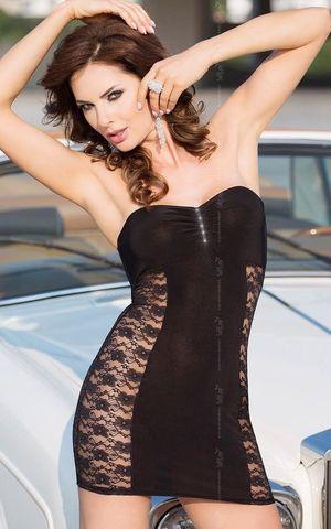 Платье без бретель со стразами на бюсте и кружевными боками
