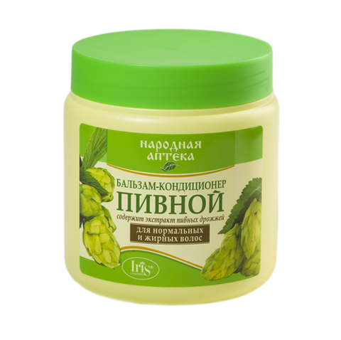 Iris Народная аптека Бальзам-кондиционер Пивной для нормальных и жирных волос 500мл