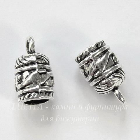 Концевик для шнура 5 мм (цвет - античное серебро) 13х8 мм