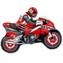 Фольгированный воздушный шар Мотоцикл. Красный.