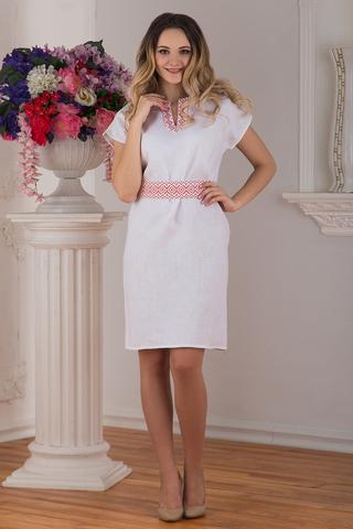 Платье льняное современное белое купить магазин Иванка