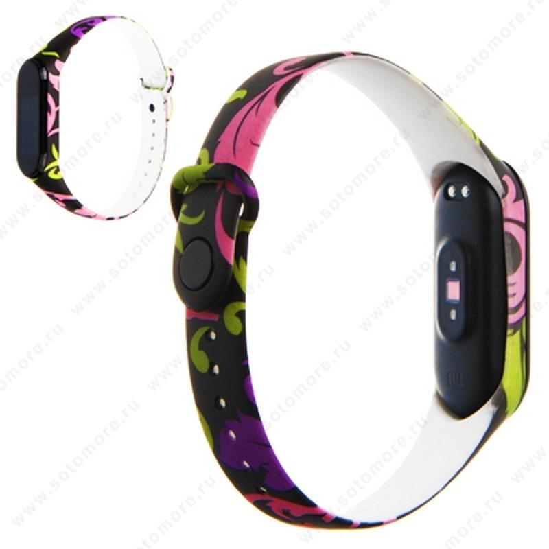 Ремешок для фитнес-браслет Xiaomi Mi Band 3/ 4 силиконовый с рисунком Вид 34