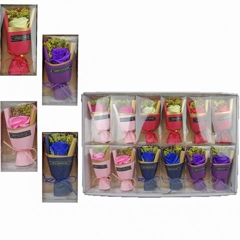 Подарочный букет Роз с запахом 1кор*1бл*6шт