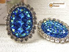 Камни ежики овальные в стразовом обрамлении синие