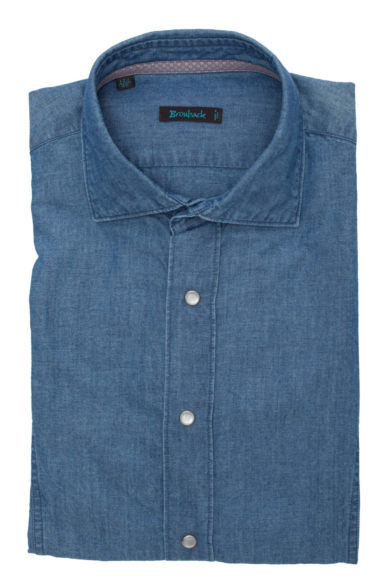 Синяя джинсовая рубашка со стеклянными белыми пуговицами-кнопками и шикарной верхней голубой