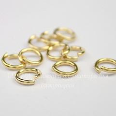 Колечко одинарное TierraCast 7,6х1,2 мм (цвет-золото), 10 штук