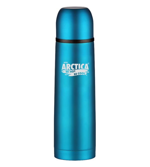 Термос Арктика (0,5 л.) с узким горлом классический, бирюзовый, резиновое покрытие