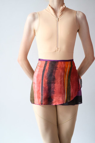 Colour block silk wrap skirt