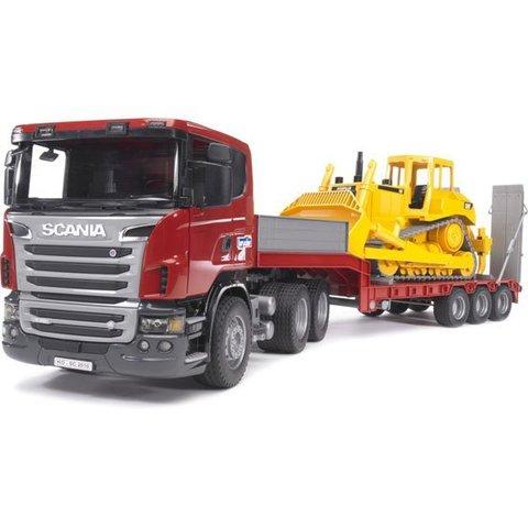 Bruder: Прицеп-платформа Scania с гусеничным бульдозером CAT JCB, 03-555 — Брудер