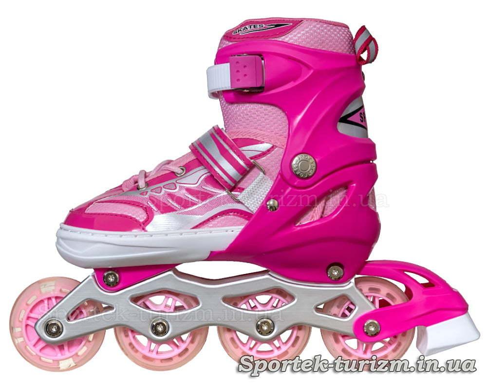 Вид слева на роликовые коньки InLine Skate 34-39 красно-розовые для девушек и женщин