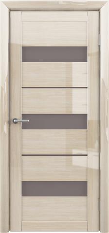 Дверь Фрегат ALBERO Прага, стекло мателюкс бронза, цвет глянец мокко, остекленная