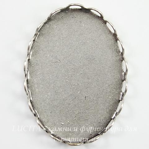 Сеттинг - основа для камеи или кабошона 25х18 мм (оксид серебра)