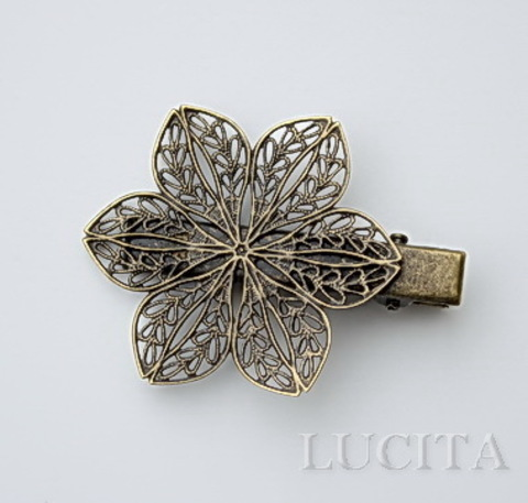 Основа для заколки с филигранным цветком, 57х39 мм (цвет - античная бронза)