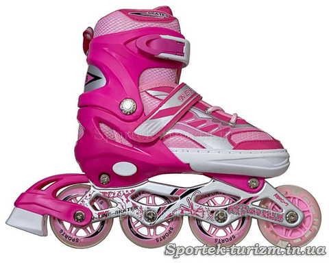 Вид справа на роликовые коньки InLine Skate 34-39 красно-розовые для девушек и женщин