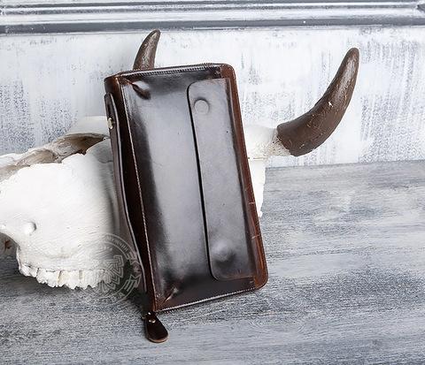 Вместительный мужской клатч из натуральной коричневой кожи