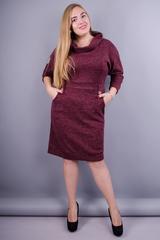 Ева. Женское платье в деловом стиле плюс сайз. Бордо.
