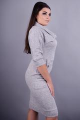 Ева. Стильное женское платье больших размеров. Серый.