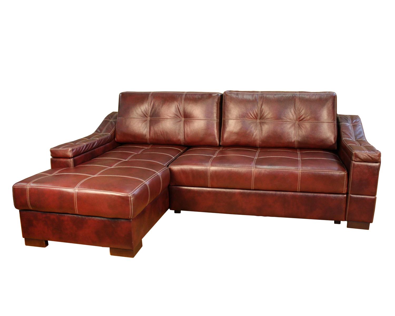 Угловой диван Макс П5 1я2д, натуральная кожа + кожзам