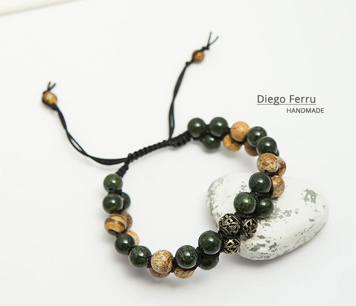 BS745 Солидный браслет Diego Ferru из натурального камня, ручная работа фото 05