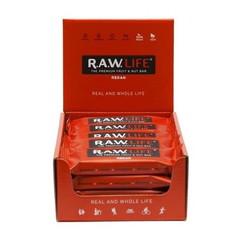 Батончики натуральные R.A.W. LIFE Red Пекан коробка 20 шт