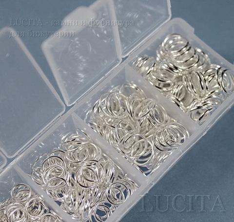 Набор колечек одинарных (примерно 1500 шт) в контейнере (цвет - серебро) 3-8х0,5-1 мм (5)