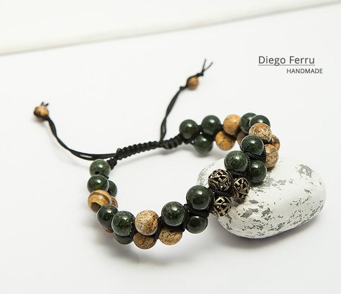 BS745 Солидный браслет Diego Ferru из натурального камня, ручная работа фото 06
