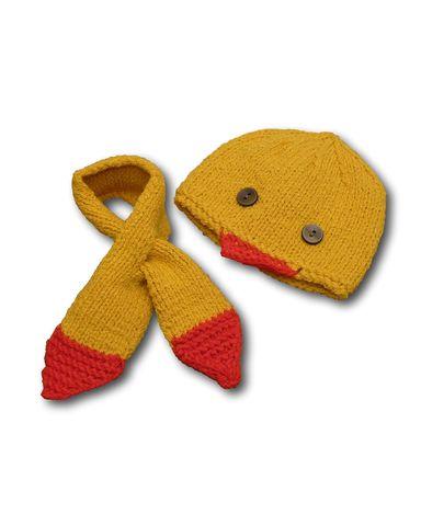 Шапка и шарф - Желтый / красный. Одежда для кукол, пупсов и мягких игрушек.