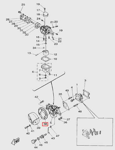 Крышка1 карбюратора для лодочного мотора T5 Sea-PRO (3-38)