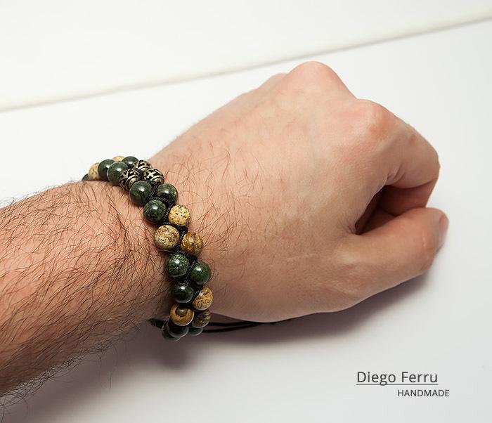 BS745 Солидный браслет Diego Ferru из натурального камня, ручная работа фото 08