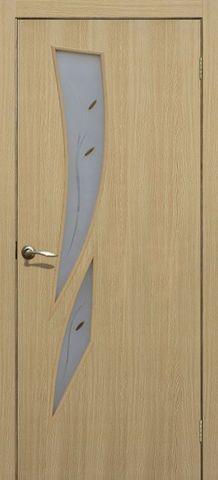 Дверь Сибирь Профиль Стрелиция, цвет ясень 3D, остекленная