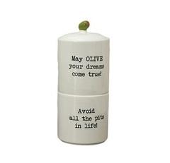 Набор банок 2 шт Boston Warehouse Stacking Snack Jar оливковый