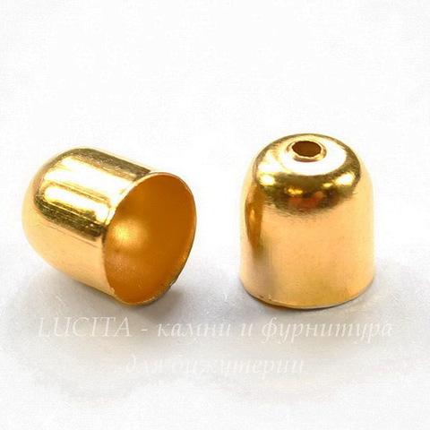 Концевик для шнура 6,5 мм, 8х7 мм (цвет - золото), 10 штук