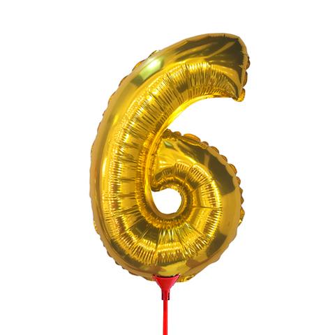 Цифра 6 (35 см) на палочке золотая