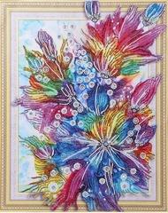 Сияние цветов-алмазная картина с фигурными стразами