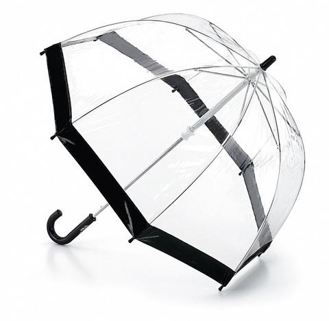 Fulton Black Прозрачный зонт-трость детский (черный кант)