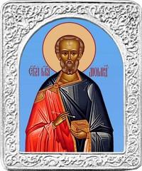 Святой Диомид. Маленькая икона в серебряной раме.