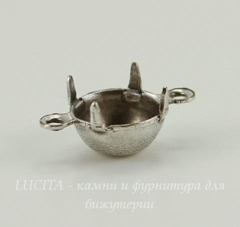 Сеттинг - основа - коннектор (1-1) для страза 8 мм (оксид серебра)