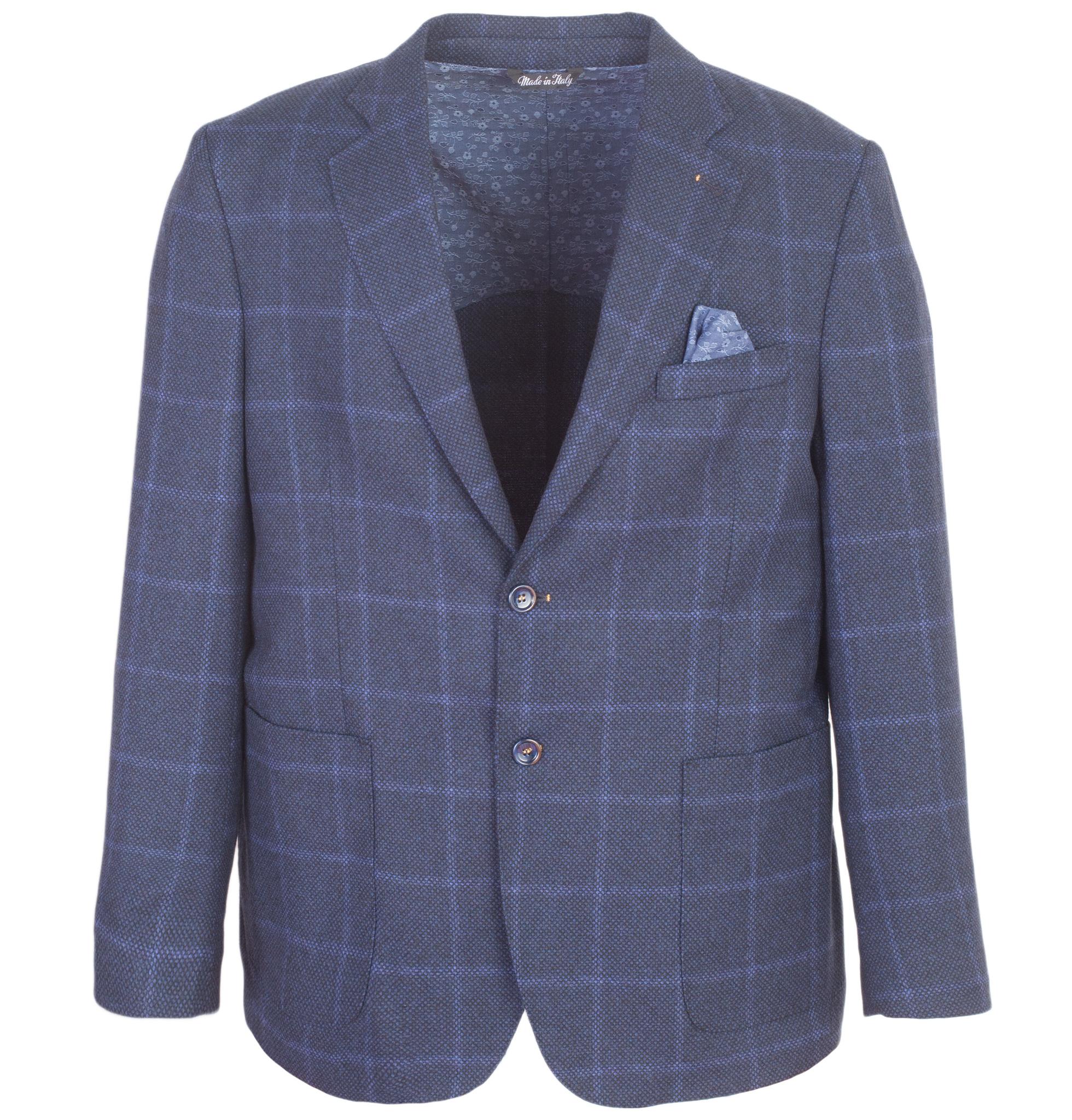 Тёмно-синий шерстяной пиджак в клетку свободного кроя