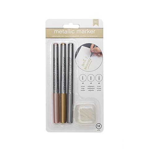 Набор маркеров American Crafts - Metallic Markers - Rose Gold, Gold, Silver- наконечники разных форм