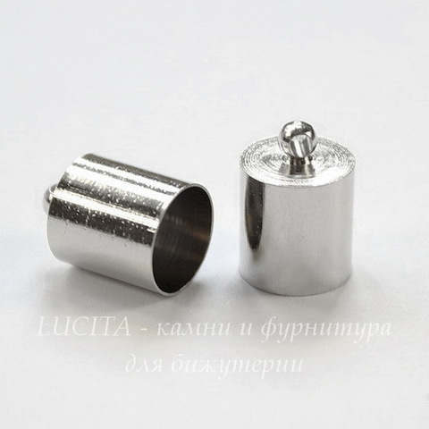 Концевик для шнура 8,5 мм (цвет - платина) 13х9 мм, 2 штуки