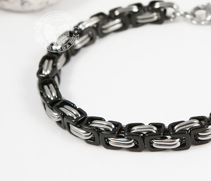BM409 Стальной браслет из черных и серебристых звеньев (22 см) фото 06