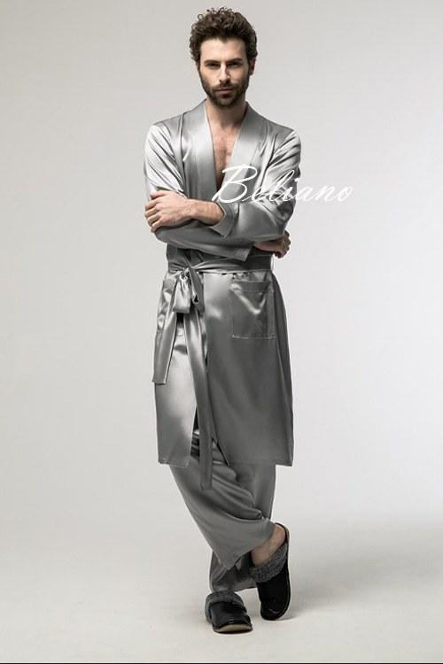 Шелковый мужской комплект для дома (брюки и халат) из натурального итальянского шелка, киев, купить