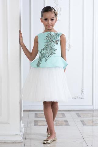 Пышное нарядное платье  (арт.322 мят/бел)