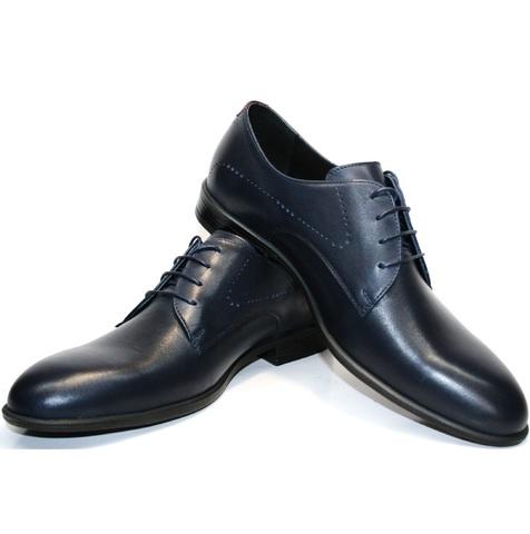 Мужские туфли дерби. Синие туфли кожаные Икос.