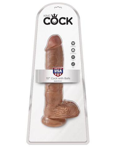 Фаллоимитатор-гигант загорелый King Cock 10 Cock with Balls фото